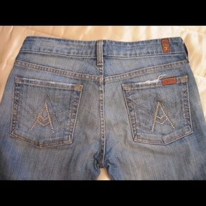 7 FOR ALL MANKIND Flare Blue Jeans Crystal Apocket